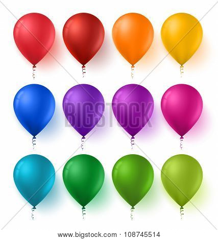 Set of Birthday Balloons with Glossy and Shiny Colors Isolated