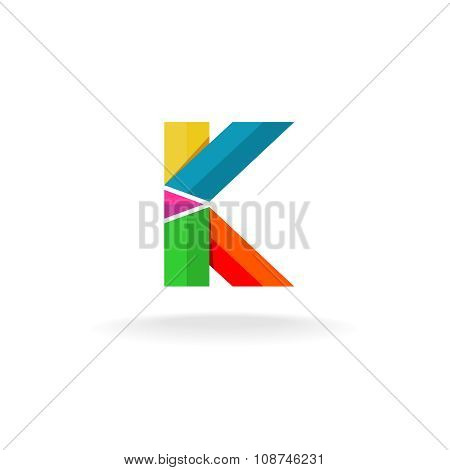Letter K Colorful Ribbons Logo