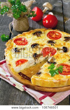 Pie With Chicken, Mushrooms And Egg Filling