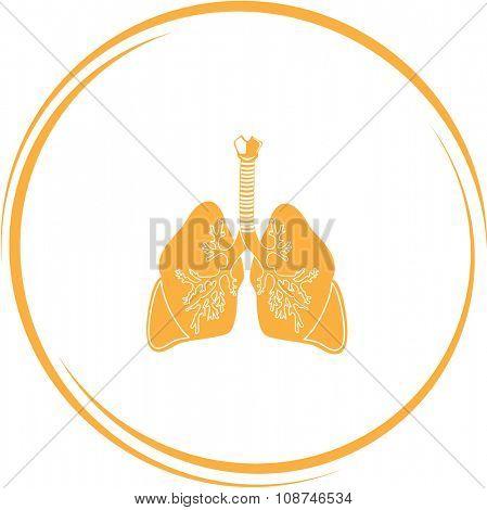 lungs. Internet button. Vector icon.