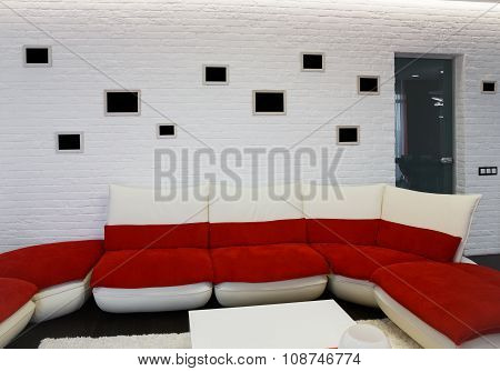 Modern Living Room Interior With Red Sofa