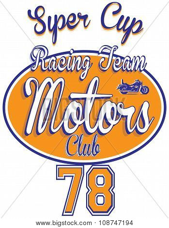 Motorcycle Racing Typography, T-shirt Graphics, Vectors