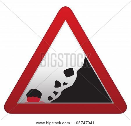 Falling Rocks Bloody Road Sign