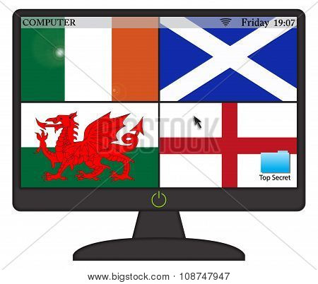 Ukflags Computer Screen With On Button