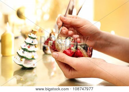 Handmade Christmas ornaments decorating