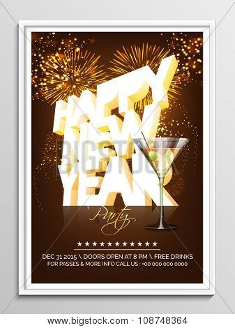 Shiny 3D text Happy New Year on fireworks decorated background, can be used as Flyer, Banner or Pamphlet design for Party celebration.