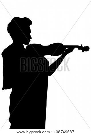 Silhouette of a young woman with a violin in his hand