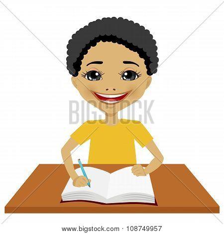 cute little black student boy writing