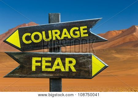 Courage - Fear signpost in a desert background