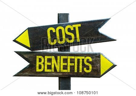 Cost Benefits signpost isolated on white background