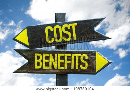 Cost Benefits signpost with sky background