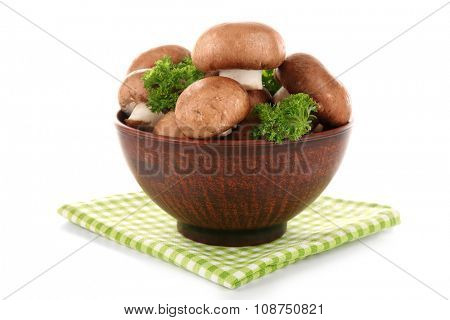 Mushrooms in bowl, isolated on white