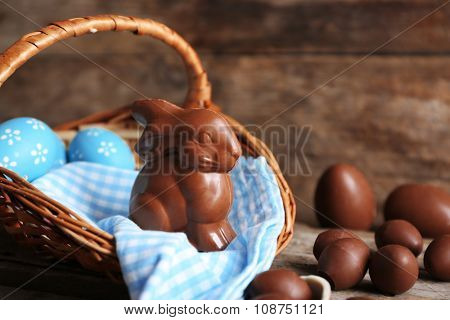 Easter chocolate bunny and eggs on wooden background