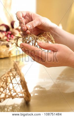 Golden bells made of sticks