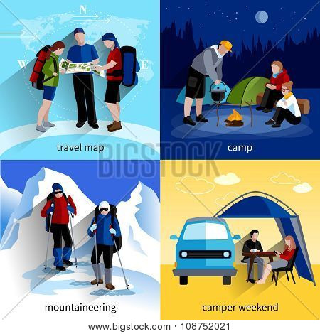 Camper People Icons Set