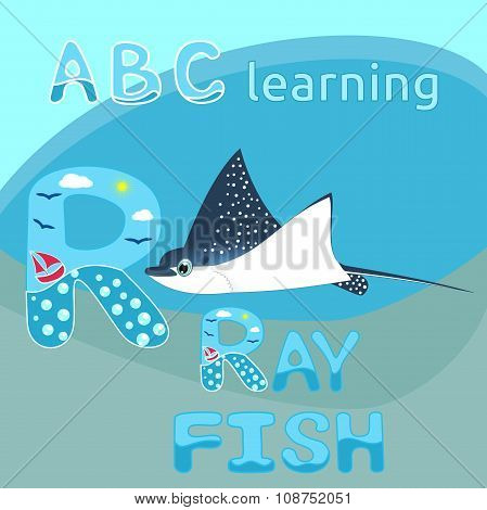 R Is For Ray Fish ABC kids M letter Manta ray fish vector Blue spotted sea animal cartoon character