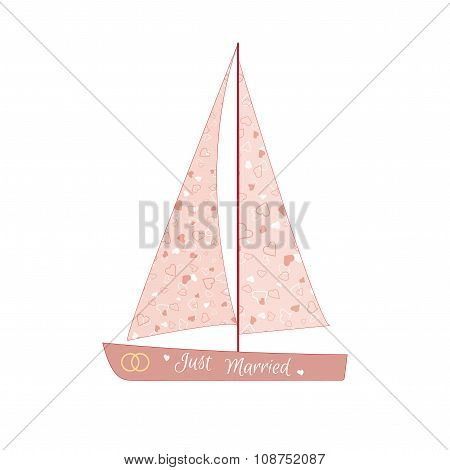 Pink wedding sailing yacht