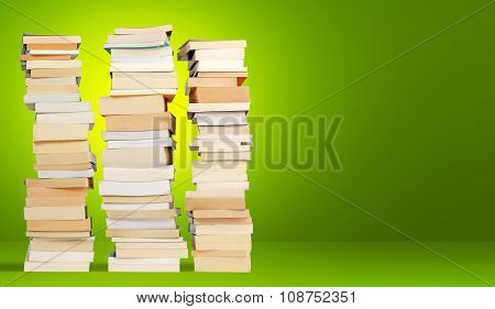 books on green background