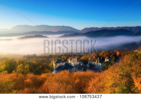 Autumn Scenery Up Early With Fog In Zagorochoria, Epirus Greece (soft Focus). Cross Processed Image