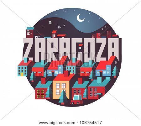 Zaragoza in Spain is Beautiful city to visit on holiday, vector cartoon illustration