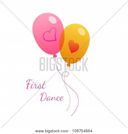 Vector wedding pink balloon on white. Valentines Day