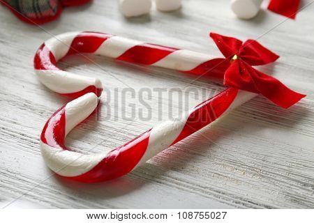 Christmas Candy Canes on table close-up