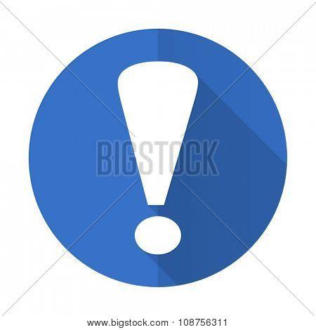 exclamation sign blue web flat design icon on white background