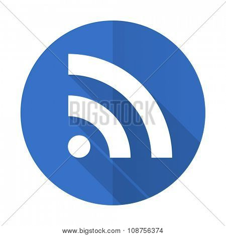 rss blue web flat design icon on white background
