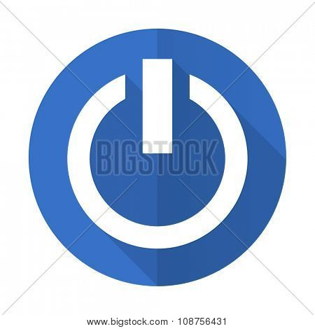 power blue web flat design icon on white background