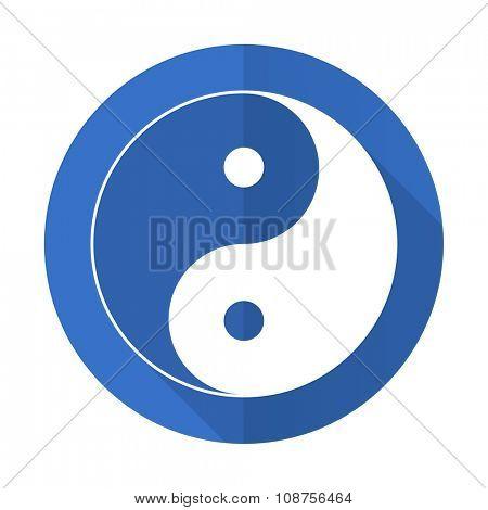 ying yang blue web flat design icon on white background