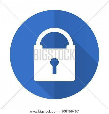 padlock blue web flat design icon on white background