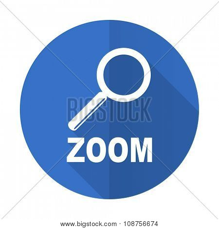 zoom blue web flat design icon on white background