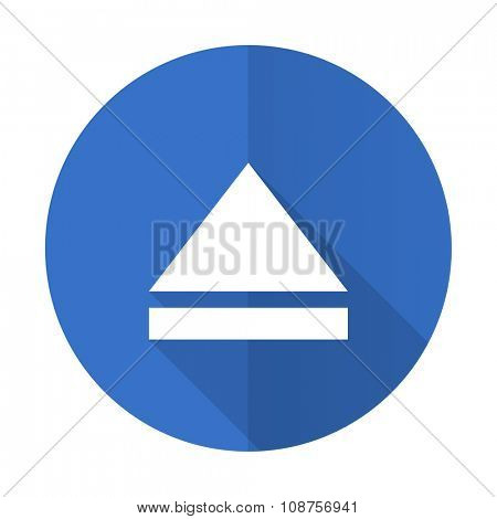 eject blue web flat design icon on white background