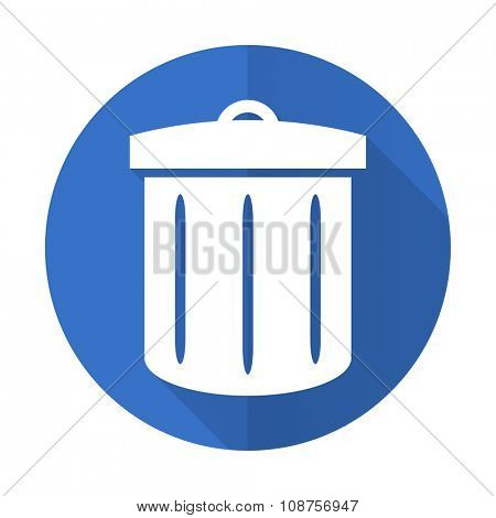 recycle blue web flat design icon on white background