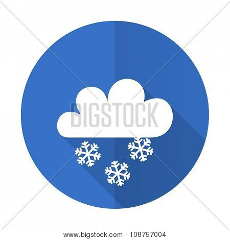 snowing blue web flat design icon on white background