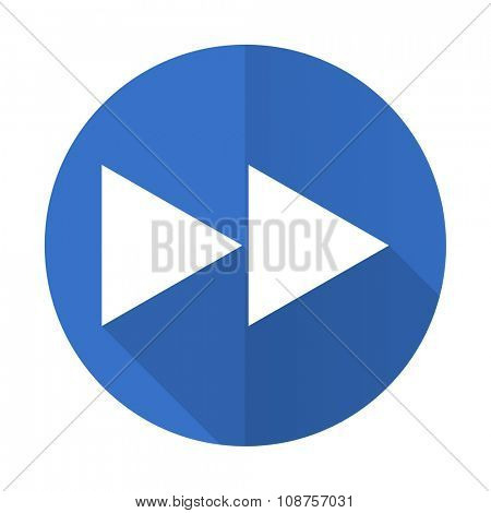 rewind blue web flat design icon on white background