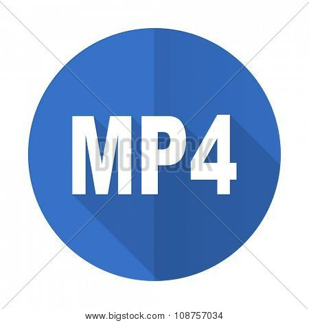 mp4 blue web flat design icon on white background