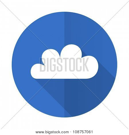 cloud blue web flat design icon on white background