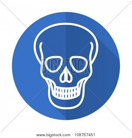 skull blue web flat design icon on white background