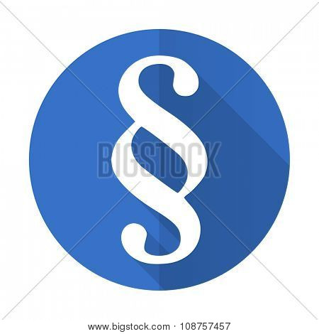 paragraph blue web flat design icon on white background