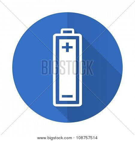 battery blue web flat design icon on white background