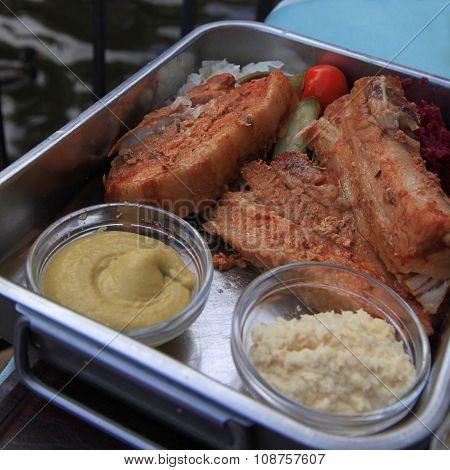 Roasted Pork Ribs In A Czech Restaurant, Prague