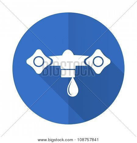 water blue web flat design icon on white background