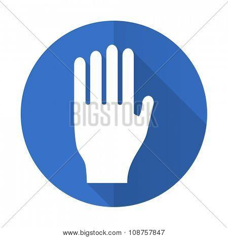 stop blue web flat design icon on white background