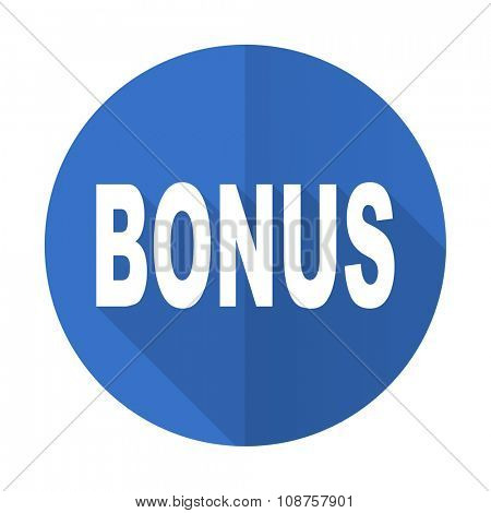 bonus blue web flat design icon on white background