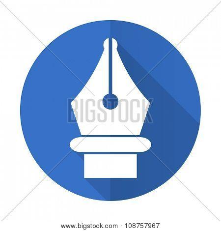 pen blue web flat design icon on white background
