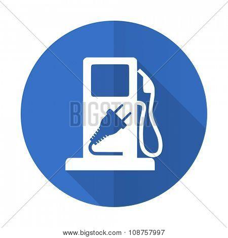 fuel blue web flat design icon on white background