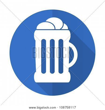 beer blue web flat design icon on white background