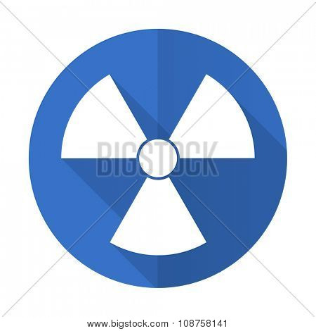 radiation blue web flat design icon on white background