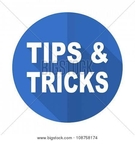 tips tricks blue web flat design icon on white background